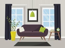 Vektorbild eines Wohnzimmers mit Möbeln. vektor