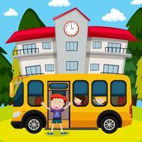 Barn och skolbuss på skolan vektor