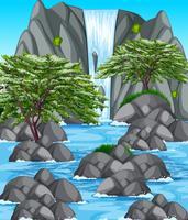 Natur scen med vattenfall och flod vektor