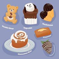 eine Sammlung süßer Desserts vektor