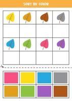 Bilder nach Farbe sortieren. Cartoon-Blätter. Spiel für Kinder. schneiden und Kleben. vektor