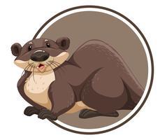 Otter in Kreisfahne vektor