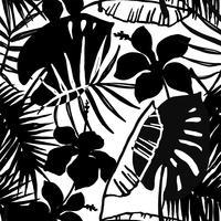 Seamless exotiskt mönster med tropiska löv och blommor.