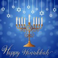 Glückliches Chanukka mit Sternsymbol und Kerzenlichtern