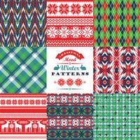 Jul och nyårssats. Plaid och prydnadsfritt sömlösa bakgrunder vektor