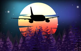 Bakgrundsscen med flygplan som flyger över skogen