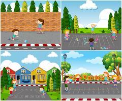 Scen av barn som leker utomhus