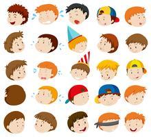Ansiktsuttryck av pojkar vektor