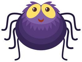 Lila Spinne mit glücklichem Gesicht vektor