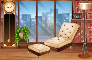 Rum med sittplatser och böcker