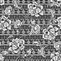 Eklektiskt tyg sömlöst mönster. Etnisk bakgrund med barock prydnad. vektor