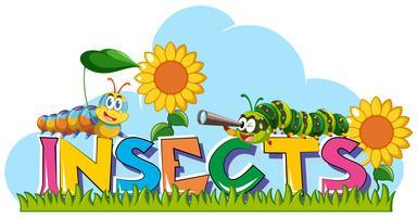 Ordinsekter med larver och solrosor i bakgrunden