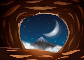 Nattutsikt från grottan