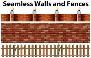 Nahtloses Design von Wänden und Zäunen vektor