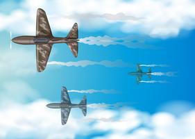 Tre militära flygplan som flyger i blå himmel