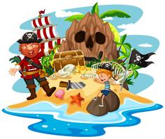 Pirat und kleiner Junge auf Schatzinsel