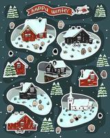 Satz verschneiter skandinavischer Holzhäuser mit Gras auf dem Dach vektor