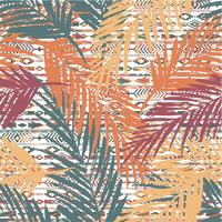 Seamless exotiskt mönster med palmblad på etnisk bakgrund.