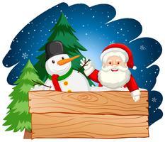 Weihnachtsmann und Schneemann mit Holzbrett vektor
