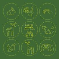 Vektor linjära ikoner av skogsdjur.