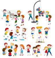 En uppsättning barn och utomhusaktiviteter