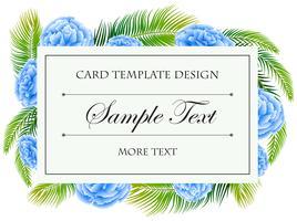 Kartenschablone mit blauem Blumenrahmen vektor