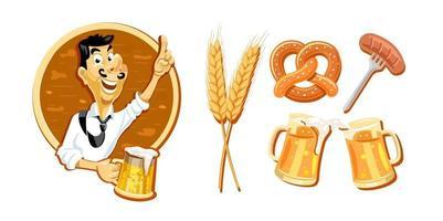 fröhlicher mann mit einem glas bier, bierset aus verschiedenen artikeln. vektor