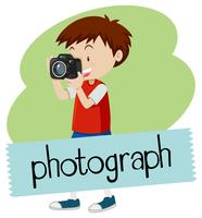 Wordcard für Foto mit dem Jungen, der Foto mit der Kamera macht vektor