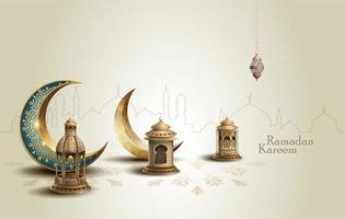 islamisches ramadan-kartendesign mit laternen und halbmond vektor