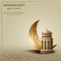 Ramadan Kareem Kartendesign Hintergrund mit goldener Laterne und Halbmond vektor