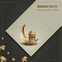 Ramadan-Kartendesign mit Laterne und Halbmond vektor