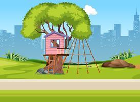 Ein drei Haus auf Spielplatz