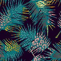 Trendy nahtloses exotisches Muster mit Palm- und Animal-Prints.