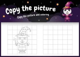 Kopieren Sie das Bild Kinderspiel und die Malvorlage mit einem süßen Pandabären vektor