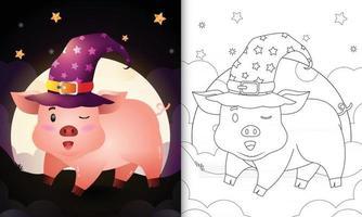 Malbuch mit einem niedlichen Cartoon-Halloween-Hexenschwein vor dem Mond vektor