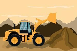 Frontlader bei Bau- und Bergbauarbeiten vektor