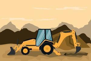 retro grävmaskin som gör bygg- och gruvarbeten vektor