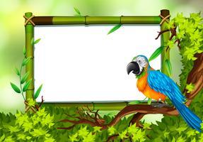 Papagei auf Naturgrünschablone vektor