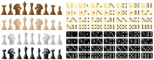 Schachfiguren und Domino in schwarz und weiß