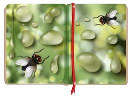 Stubenfliegen und Wassertropfen im Buch