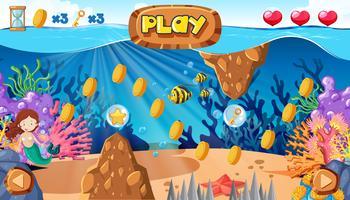 Ein Meerjungfrau-Spiel unter dem Ozean vektor
