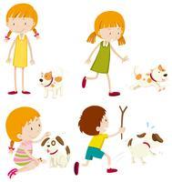 Set verschiedene junge Kinder und Hunde vektor