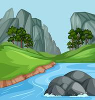 Natur flod landskap bakgrund vektor