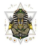 Vektor-Anubis-Kunstwerk mit Klaue auf heiliger Geometrie. vektor
