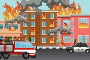 Feuer in der Stadt vektor