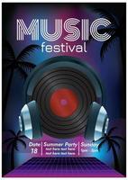 Musikfestival Musikparty Poster für das Nachtleben vektor