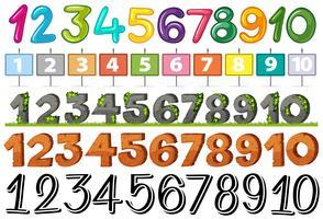 Ein Satz von Schriftnummern vektor