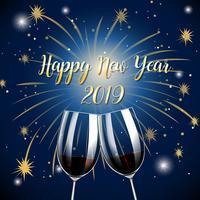 Frohes neues Jahr 2019 Champagnergläser vektor