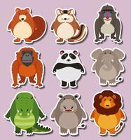 Klistermärke design med söta djur vektor