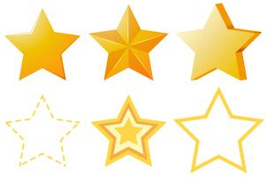 Verschiedene Designs von goldenen Sternen vektor
